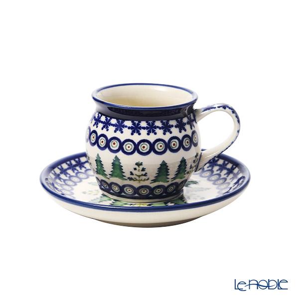 ポーリッシュポタリー(ポーランド陶器) ボレスワヴィエツ コーヒーカップ&ソーサー 160ml/14.2cm XMAS/クリスマス(もみの木) 913/710/1001A