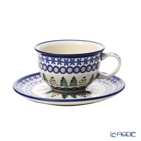 ポーリッシュポタリー(ポーランド陶器) ボレスワヴィエツティーカップ&ソーサー 220ml/16cm XMAS/クリスマス(もみの木) 775/836/1001A