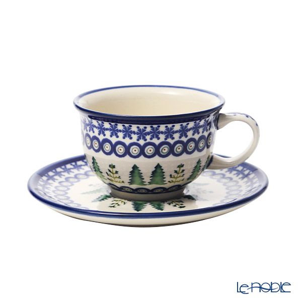 ポーリッシュポタリー(ポーランド陶器) ボレスワヴィエツ ティーカップ&ソーサー 220ml/16cm XMAS/クリスマス(もみの木) 775/836/1001A