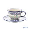 Polish Pottery Boleslawiec '775/836/A-1155A' Tea Cup & Saucer 220ml
