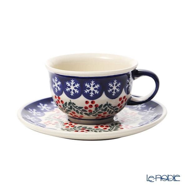 ポーリッシュポタリー(ポーランド陶器) ボレスワヴィエツ ティーカップ&ソーサー 220ml/16cm XMAS/クリスマス(ひいらぎ) 775/836/1005