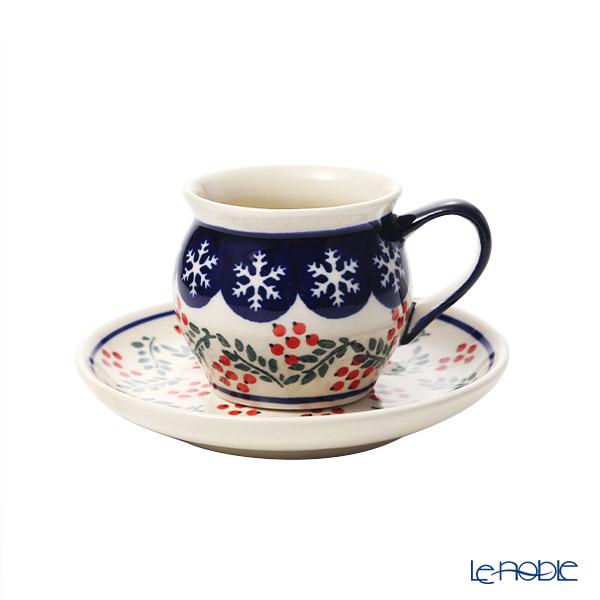 ポーリッシュポタリー(ポーランド陶器) ボレスワヴィエツコーヒーカップ&ソーサー 160ml/14.2cm XMAS/クリスマス(ひいらぎ) 913/710/1005