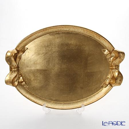 フィレンツェ トレイ オーバル 33×51cm リボン/ゴールド