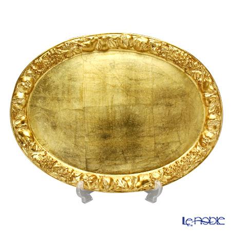 フィレンツェ トレイ オーバル 36×48cm ラウンドフルーツ/ゴールド