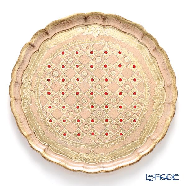 フィレンツェトレイ ラウンド 33.5cm ピンク/ゴールド LP2163