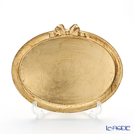 フィレンツェ トレイ オーバル18×24cm ゴールドリボン D218