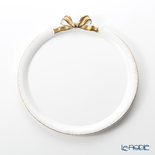 フィレンツェ トレイ ラウンド 20cm ホワイト/ゴールドリボン D216