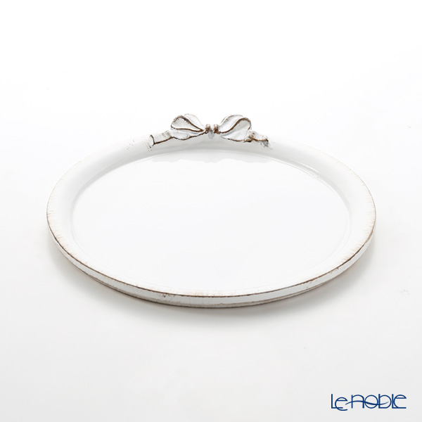 Florentine Wooden Crafts D216 White & Silver Ribbon Round Tray 20.5cm