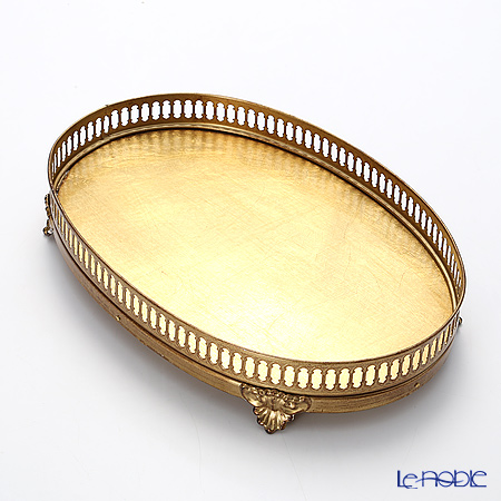 Florentine Wooden Crafts 'Gold' Gallery Oval Tray (footed) 30x20.5cm