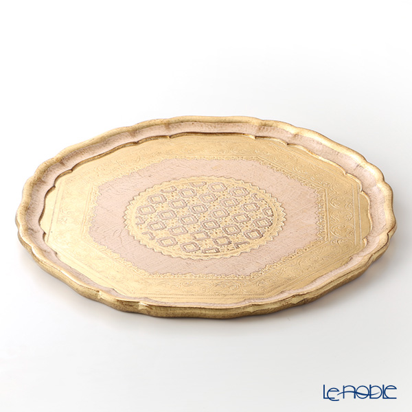 Florentine Wooden Crafts Pink & Gold Round Tray 43.5cm