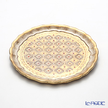 Florentine Wooden Crafts LP216-1 White & Gold Round Tray 24cm