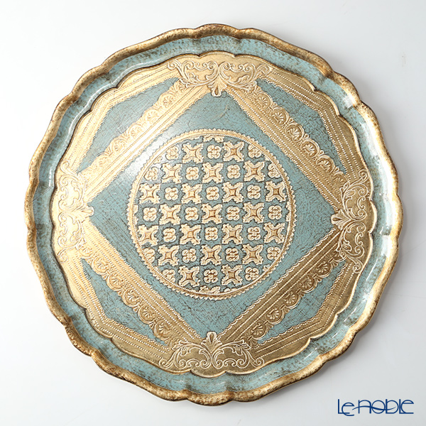 Florentine Wooden Crafts Turquoise Blue Round Tray 38.5cm