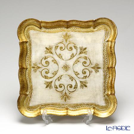 フィレンツェ トレイ スクエア 30×30cm ホワイト/ゴールド