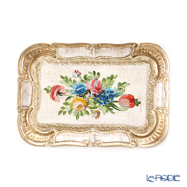 Florentine Wooden Crafts '1/F-0' White & Gold with Flower pattern Rectangular Tray 22.5x15.5cm (S)