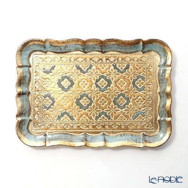 Florentine Wooden Crafts 3046/0 Light Blue & Gold Rectangular Tray (S) 22.5x15.5cm