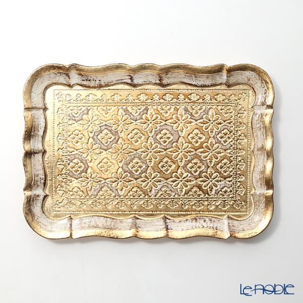 フィレンツェ トレイ(S) スクエア 16×22.5cm ホワイト/ゴールド 3046/0