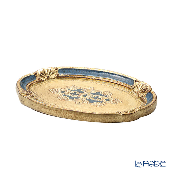 Florentine Wooden Crafts 12/GTR-0 Blue & Gold Oval Tray (S) 26x17cm