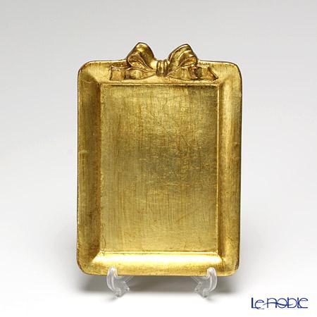 フィレンツェ トレイ ミニ 長方形13×18.5cm リボン 縦 ゴールド