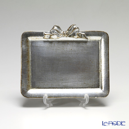 フィレンツェ トレイ ミニ 長方形 17×14.5cm リボン 横 シルバー