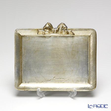 フィレンツェ トレイ ミニ 長方形 19.5×16.5cm リボン 横 シルバー