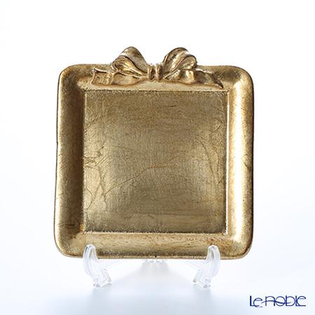 フィレンツェ トレイ ミニ スクエア 13×14cm リボン 縦 ゴールド