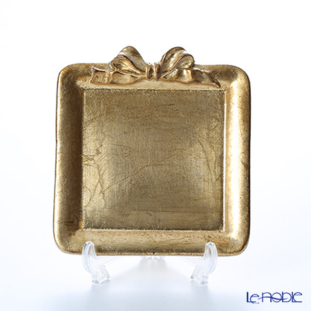 Florentine Wooden Crafts 'Gold' Square Tray with Ribbon 13cm