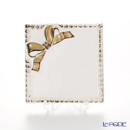 フィレンツェ コースター スクエア リボン 2098ホワイト/ゴールドリボン 10×10cm