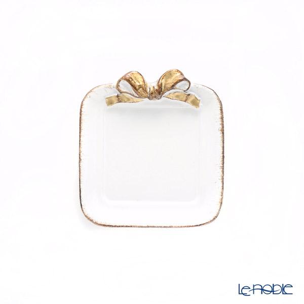 フィレンツェ コースター スクエアホワイト/ゴールドリボン 10×11cm F100