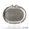Florentine Wooden Crafts Silver Oval Tray with Ribbon 17x14cm