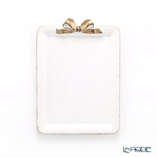 フィレンツェ トレイ ミニ 長方形 ホワイト/ゴールドリボン 15×21cm D211V