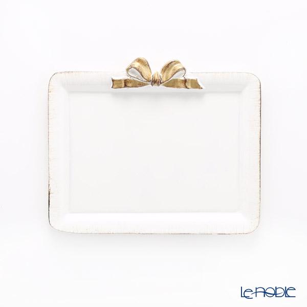 フィレンツェ トレイ ミニ 長方形 ホワイト/ゴールドリボン 15×21cm D211H