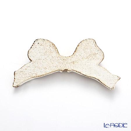 Florentine Wooden Crafts F8 Gold & White Knife Rest (Ribbon shape) 8cm