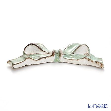 Florentine Wooden Crafts 'F8' Mint Green & White Knife Rest (Ribbon shape) 8cm