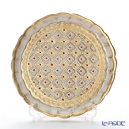 Florentine Wooden Crafts 'LP218/1' White & Gold Round Tray 24cm