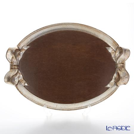 フィレンツェ トレイ オーバル36×51cm ウォルナット/シルバーリボン 1004
