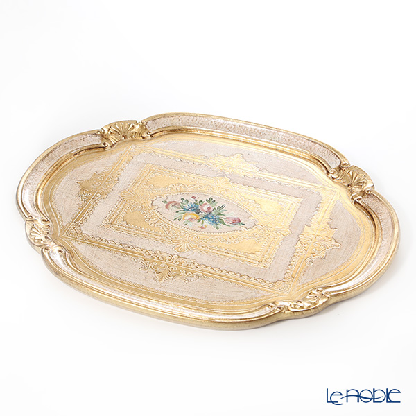 Florentine Wooden Crafts 'White & Gold with Flower pattern' Oval Tray (Cloud shape) 51x41.5cm