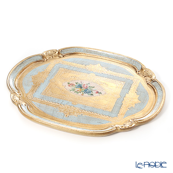 Florentine Wooden Crafts Light Blue & Gold with Flower pattern Oval Tray (Cloud shape) 51x41.5cm