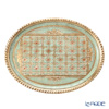 Florentine Wooden Crafts LP224/1 Light Green & Gold Oval Tray 38x29cm