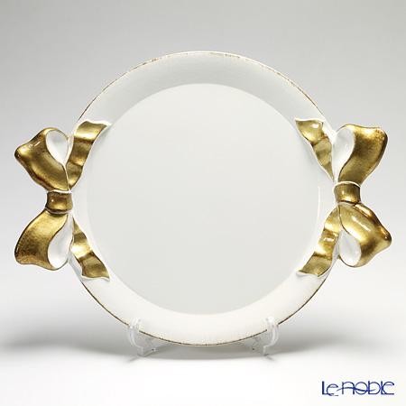 フィレンツェ トレイ ラウンド 38×47cm リボン ホワイト/ゴールド 1000