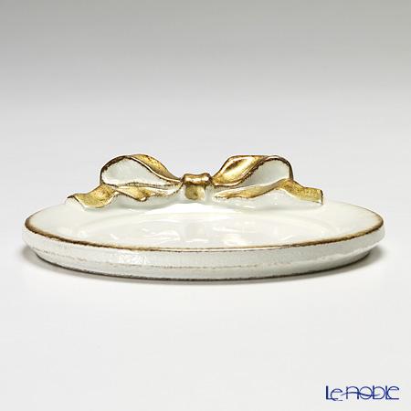 Florentine Wooden Crafts 1020 White & Gold Ribbon Round Coaster 10.5cm