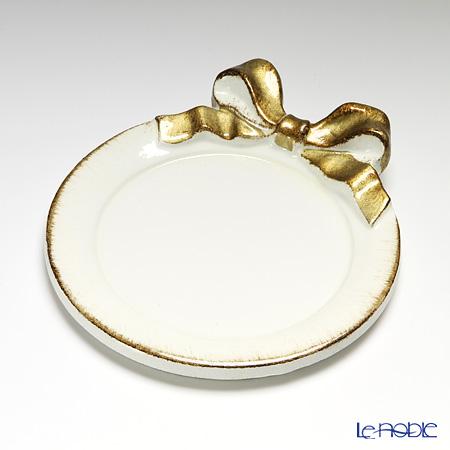 フィレンツェ コースター ラウンドリボン ホワイト/ゴールド 1020