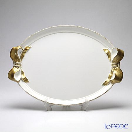 フィレンツェ トレイ オーバル 36×51cm ホワイト/ゴールドリボン 1004