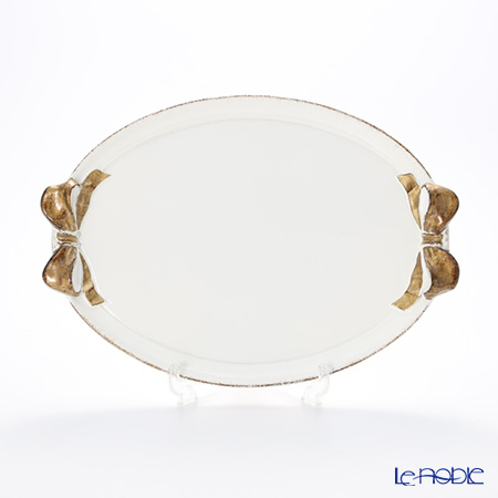 フィレンツェ トレイ オーバル36×51cm ホワイト/ゴールドリボン 1004