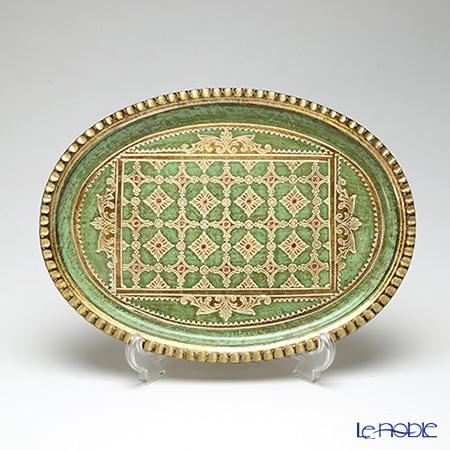 フィレンツェ トレイ オーバル32×23.5cm グリーン/ゴールド LP224/1