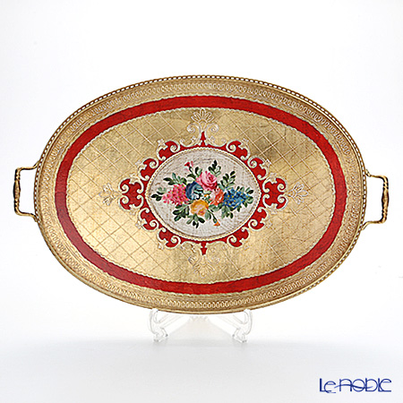 Florentine Wooden Crafts '9920103F' Red & Gold with Flower pattern Oval Tray (with handles) 56.5x36.5cm