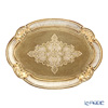 Oval Florentine tray 22 x 30 cm white / gold 12 / GTR-1