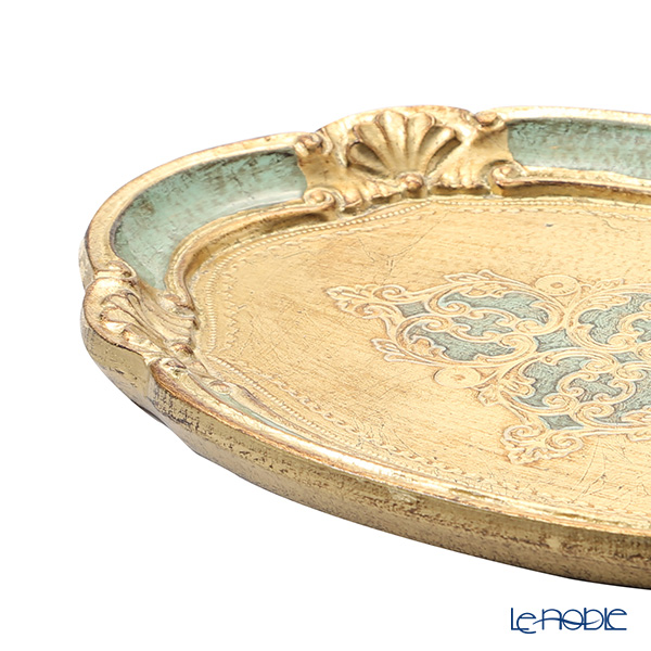 Florentine Wooden Crafts 12/GTR-1 Green & Gold Oval Tray 30x22cm