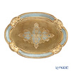 Florentine Wooden Crafts 12/GTR-1 Blue & Gold Oval Tray 30x22cm