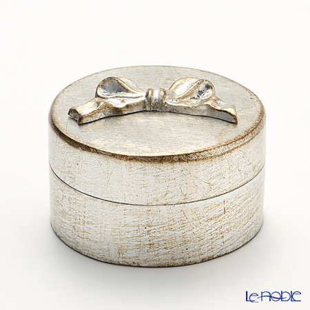 Firenze Tray, Round Box Ribbon, Silver 12 cm