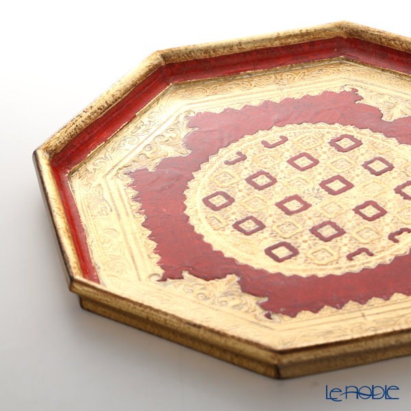 Florentine Wooden Crafts  LP231/3 Red & Gold Octagonal Tray 37cm
